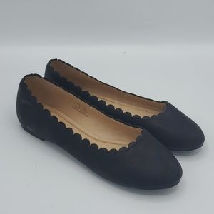 JGoods Black Scalloped Slip-on Flats Size 8